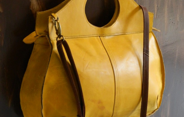 Curvy Mustard Yellow Leather Bag