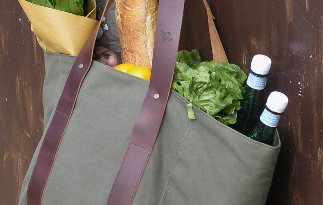 Land Girls' Bag – made with strong supple leather straps and waterproof cotton canvas